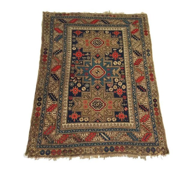 Antique Persian Rug Hand Knotted Caucasian Wool Rug - 3′6″ × 4′9″ For Sale In Richmond - Image 6 of 8