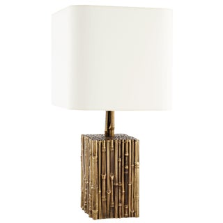 1950s French Brass Bamboo White Shade Table Lamp For Sale