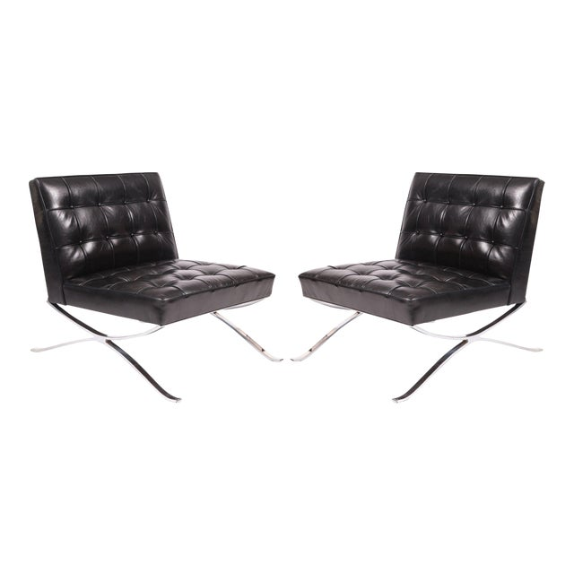 Rare Pair of Steel and Leather Lounge Chairs by Hans Kaufeld For Sale