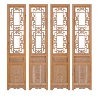 Chinese Dragon Pattern Wood Panels - Set of 4 For Sale