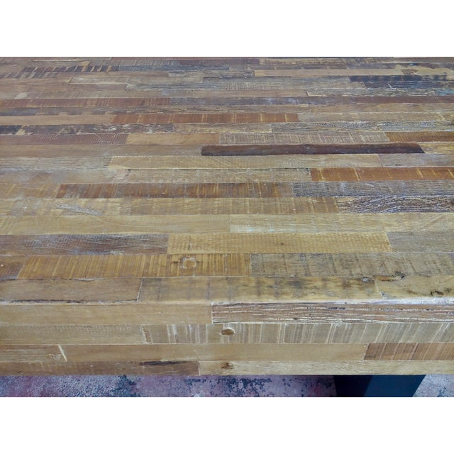 Brown Vintage Butcher Block Style Dining Table W/Ebonized Base For Sale - Image 8 of 10