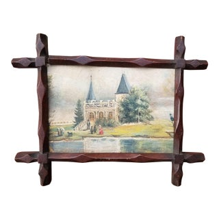 1900s French Landscape Miniature Oil Painting, Framed For Sale