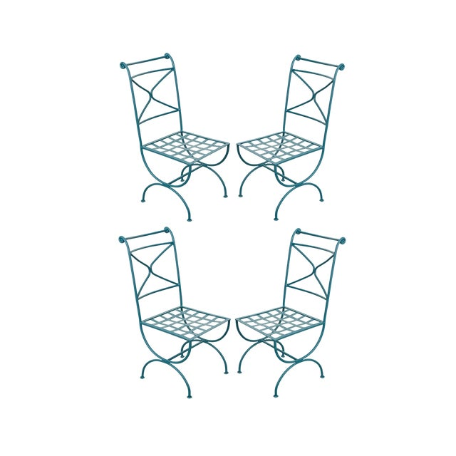 Early 20th Century Roman-Style Painted Wrought-Iron Side Chairs - Set of 4 For Sale