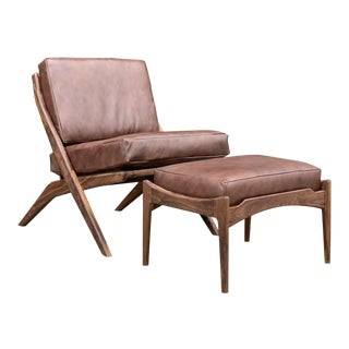 Custom Made Contemporary Walnut Slipper Chair- With Ottoman For Sale