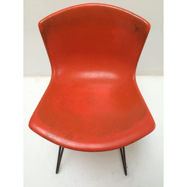 Knoll Bertoia Fiberglass Side Chair Red-Orange - Image 9 of 11