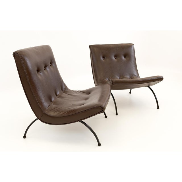 Milo Baughman Mid Century Scoop Lounge Chairs - a Pair Each chair measures 24.5 wide x 27 deep x 29 high with a seat...