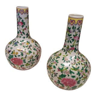 20th Century Chinese Famille Rose Bottle Form Vases - a Pair