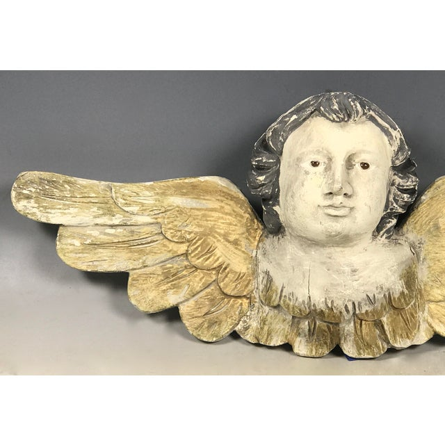 Large Handcarved Wood Cherub with Long Wings For Sale - Image 4 of 8