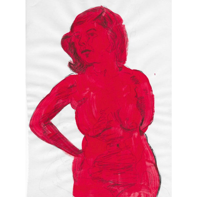 Overpainted Red Mid-Century Female Nude For Sale