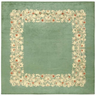 Antique Square French Art Deco Rug by Leleu - 9′9″ × 9′9″ For Sale