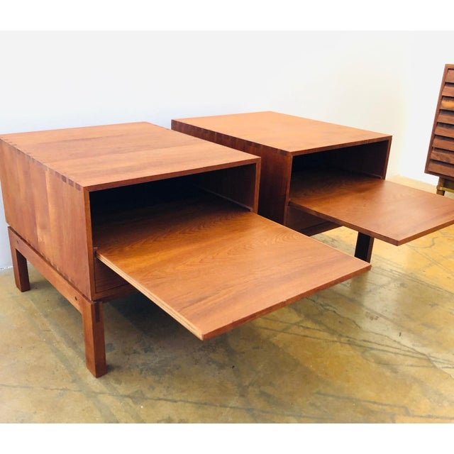 Beautifully modern pair of Danish nightstands by Johannes Aasbjerg. A perfect finishing touch to accent your bedroom.