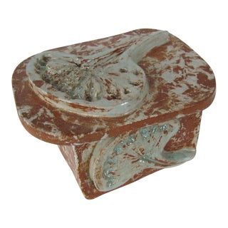 Handmade Pottery Ginkgo Leaf Box For Sale