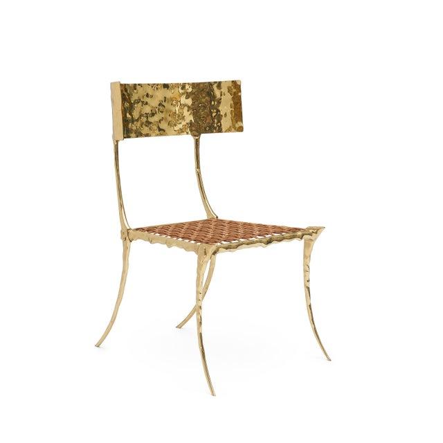 Aqua Brass Klismos Chair by Sylvan Sf For Sale - Image 9 of 9