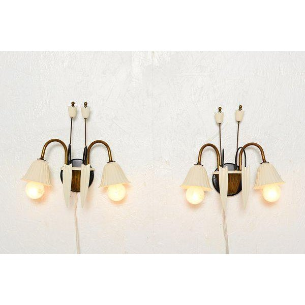 Flower-Shaped Italian Wall Sconces - a Pair For Sale In San Diego - Image 6 of 8