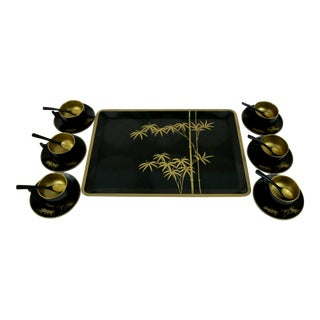 Vintage Black With Gold Bamboo Tea Set