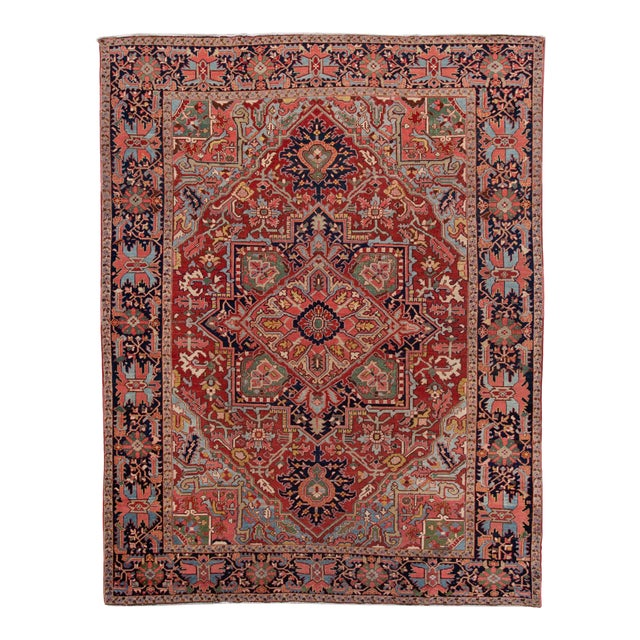 Early 20th Century Antique Persian Heriz Wool Rug For Sale