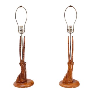 Pair of Sculptural Carved Wood Gazelle Motive Walnut Table Lamps For Sale