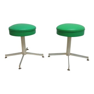 Mid-Century Revolving Green Button Footstools - A Pair