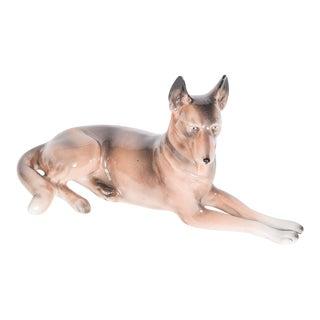 Vintage Unterweissbach Steiner Dresden Porcelain German Shepherd Dog Figurine For Sale