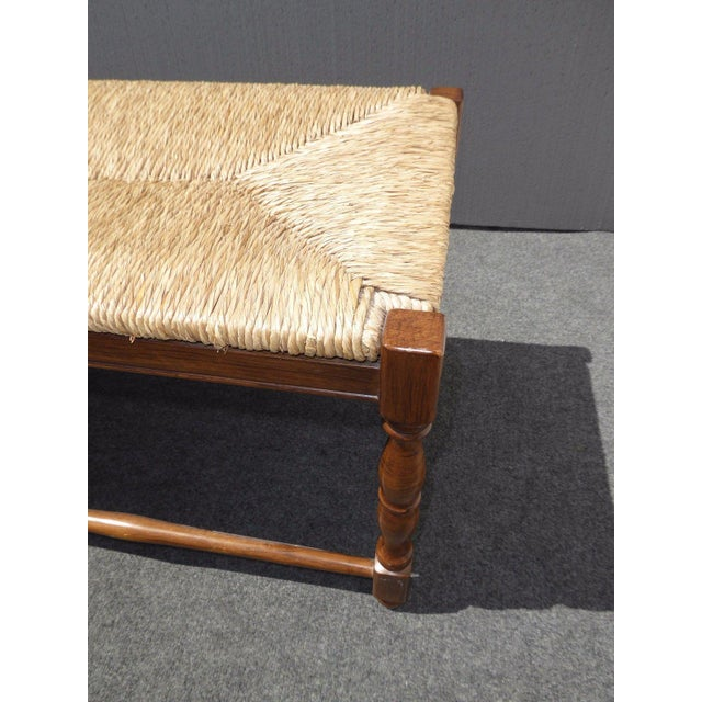 Ballard designs french country carved wood rye seat bench