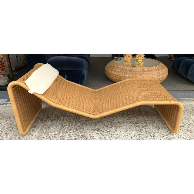 1970s Italian Rattan Chaise Longue Lounger Chair P3 by Tito Agnoli For Sale - Image 11 of 11