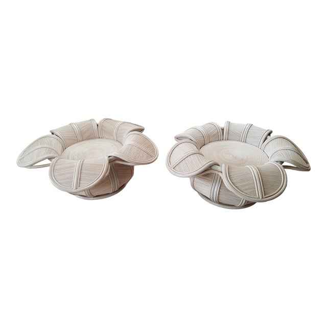 1970s Hollywood Regency Rattan Pencil Reed Bell Flower Coffee Tables - a Pair For Sale