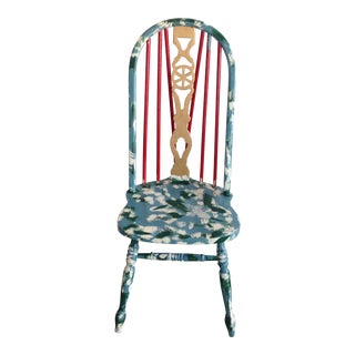 Suga Lane Hand Painted Farmhouse Windsor Chair For Sale
