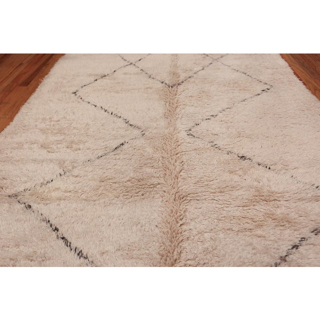 Mid 20th Century Vintage Room Size Moroccan Ivory Rug - 6′10″ × 13′ For Sale - Image 5 of 8