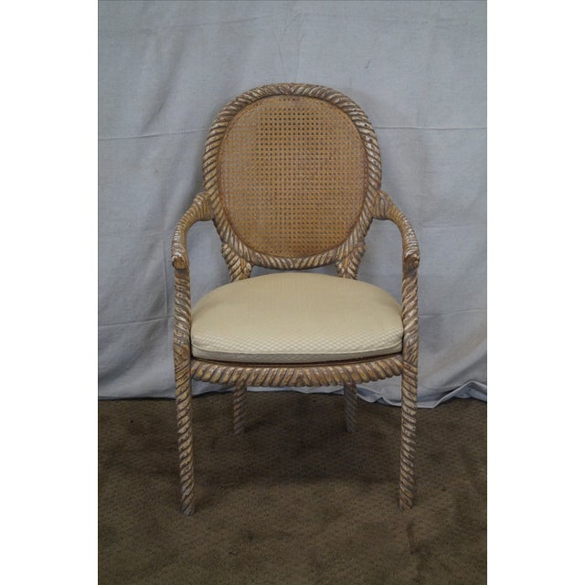 Hollywood Regency Gilt Painted Rope Turned Chair - Image 2 of 10
