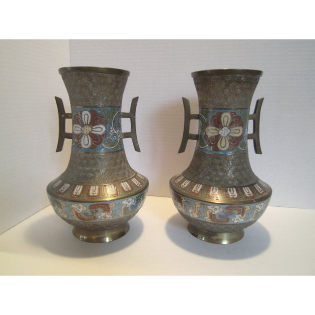 Antique Bronze Champleve Urns - A Pair - Image 3 of 11