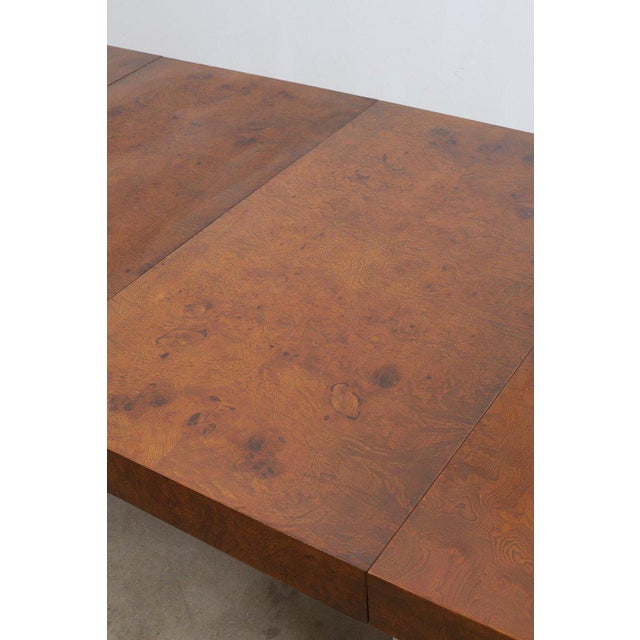 Thayer Coggin Milo Baughman Burl Wood Chrome Extension Dining Table For Sale - Image 4 of 13