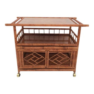 1980s Boho Chic Bamboo Cart on Casters For Sale
