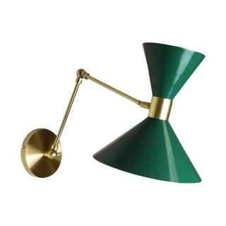 Large Scale Monarch Wall Mount Lamp in Brass, Emerald Green, Blueprint Lighting For Sale