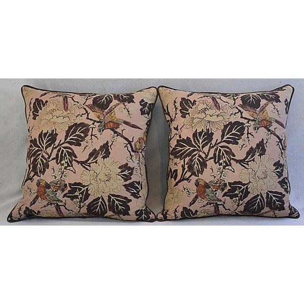 """Custom Chinoiserie Floral & Birds Feather/Down Pillows 26"""" Square - Pair For Sale - Image 9 of 12"""