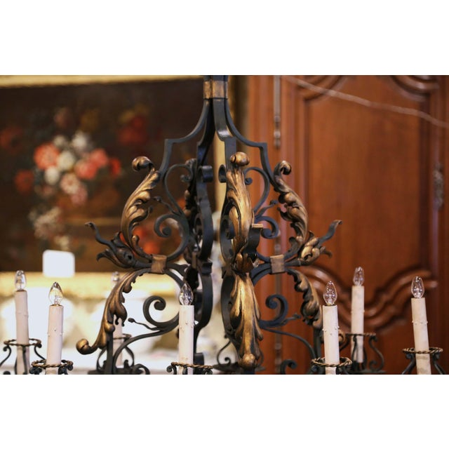 Early 20th Century French Painted & Gilt Iron Flat Bottom Ten-Light Chandelier For Sale - Image 11 of 13