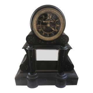 19th Century Antique French Black Slate Mantel Clock For Sale