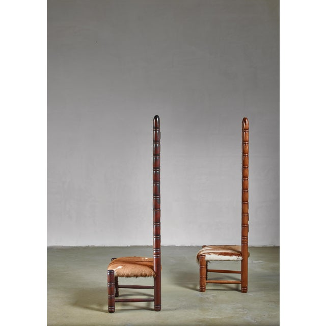 Pair of High Back Ladder Chairs With Goatskin Seating, 1960s For Sale - Image 4 of 5