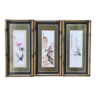 Trio of Chinoiserie Paintings For Sale