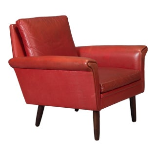 Red Leather Danish Modern Armchair For Sale
