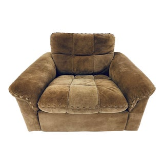 Exklusiv Suede Leather Lounge Chair For Sale