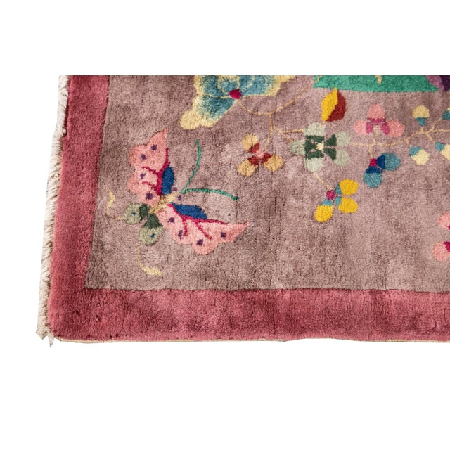 Art Deco Early 20th Century Antique Art Deco Chinese Wool Rug For Sale - Image 3 of 11