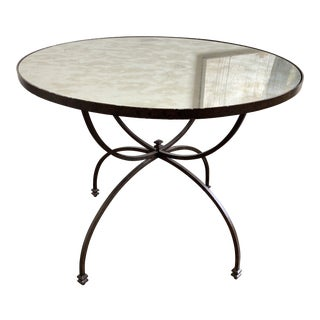 Pottery Barn Willow Smoked Mirrored Top Round Table For Sale