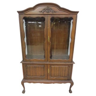 Glass Front Cabinet with Cabriole Legs For Sale