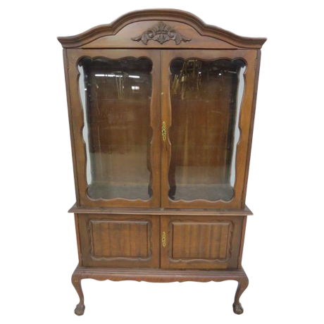 Glass Front Cabinet With Cabriole Legs