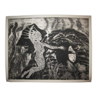 """Aquatic Passage"" 1980s Mid Century Modern Collagraph Print For Sale"