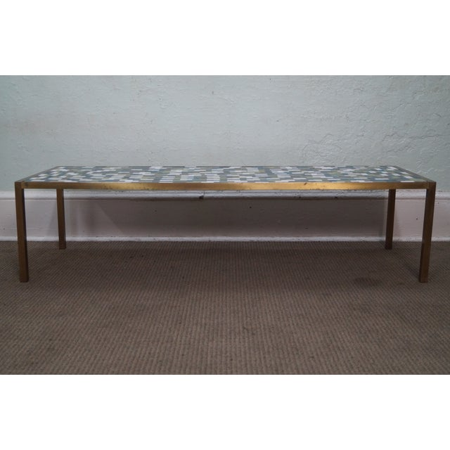 Mid Century Brass Coffee Table with Tile Top - Image 3 of 10
