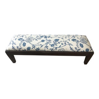 Brunschwig Fils Blue Floral Upholstered Bench