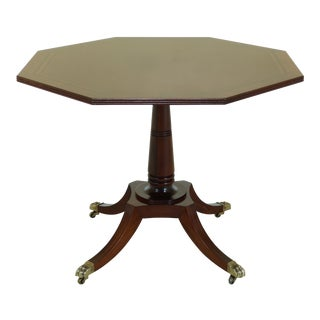 Baker Octagonal Mahogany Pedestal Base Breakfast Dining Table For Sale