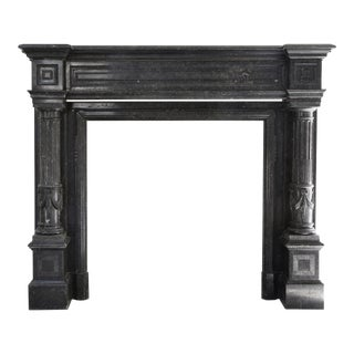 Antique Fireplace - Belgian Bluestone - Neoclassical Style - 19th Century For Sale