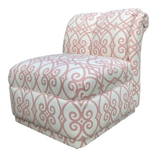 90s Roll Back Chair Armless Chair Newly Upholstered in Vintage Fabricut Linen For Sale